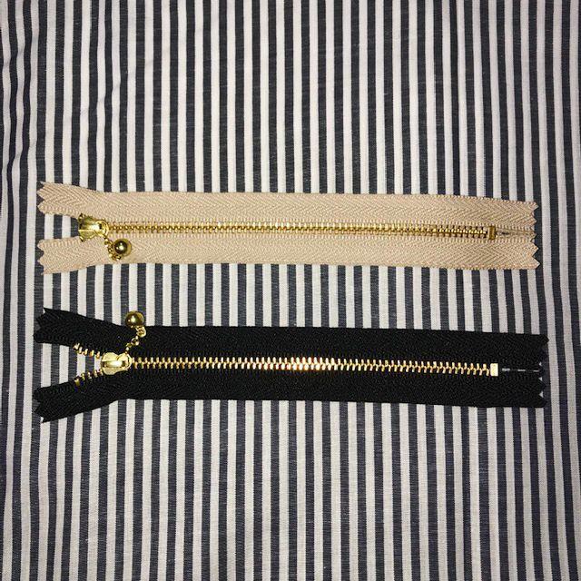 画像1: 【玉つきファスナー】引き手チェーンタイプ 15cm ゴールド金具 片開き『2色』