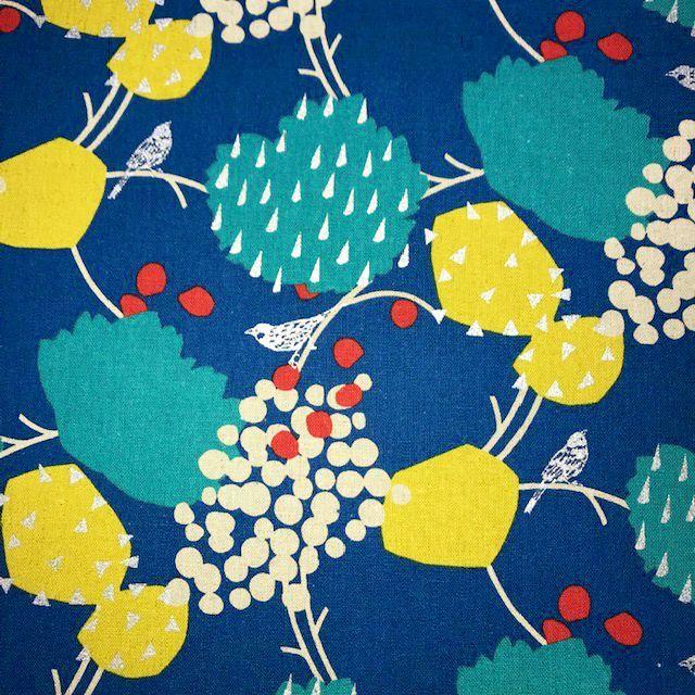 画像1: 【綿麻キャンバス】071000■約48cmハギレ ハーベスト ブルー echino2019