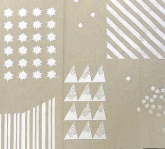 画像1: 【綿麻キャンバス】071010■約48cmハギレ シェイプ ニュートラル&キラキラ 麻色地×白柄
