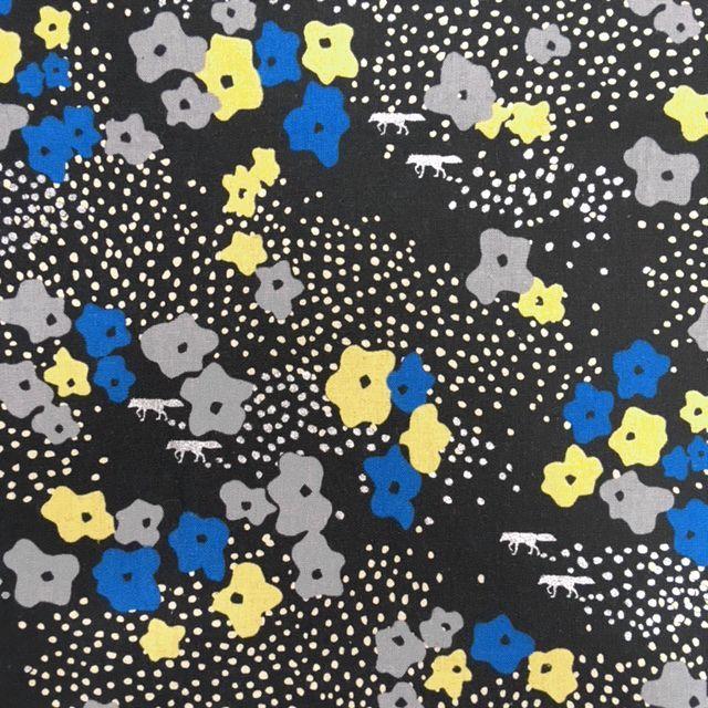 画像1: 【綿麻キャンバス】071202 ■約48cmハギレ フローレット 花畑の銀ぎつね ブラック echino2018