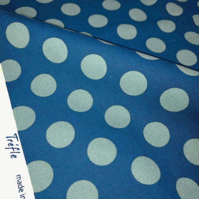 画像1: 【8号ハンプ】101803■約46cmハギレ 直径27mm水玉 濃い青地×くすんだ水色