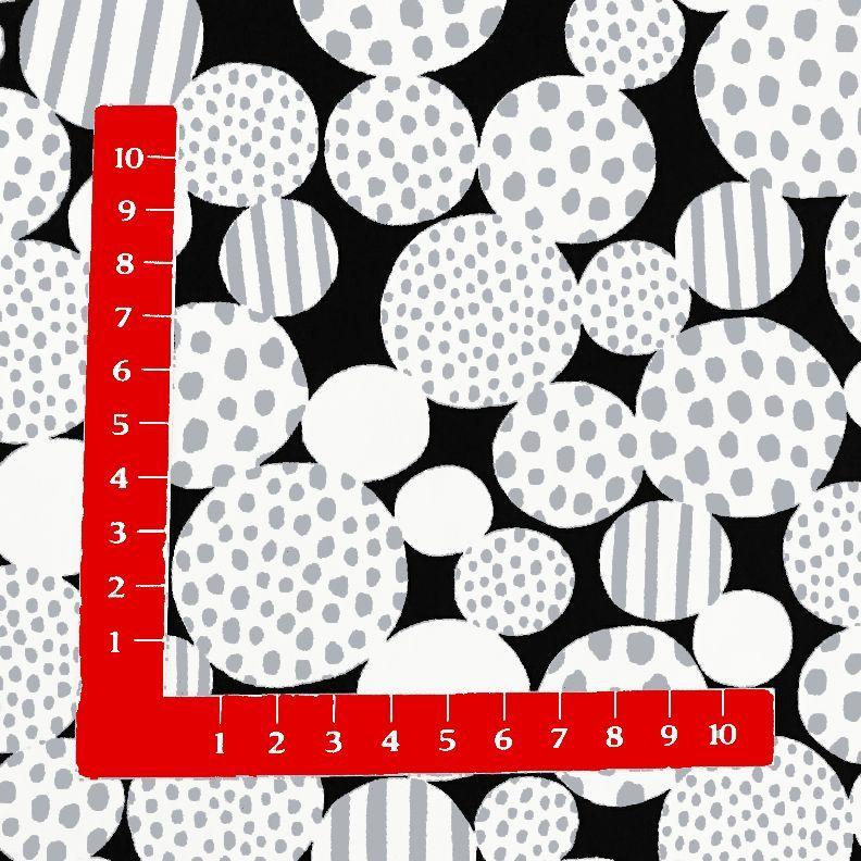 画像1: 【オックス】102001■約44cmハギレ バブルドットとストライプ柄黒地
