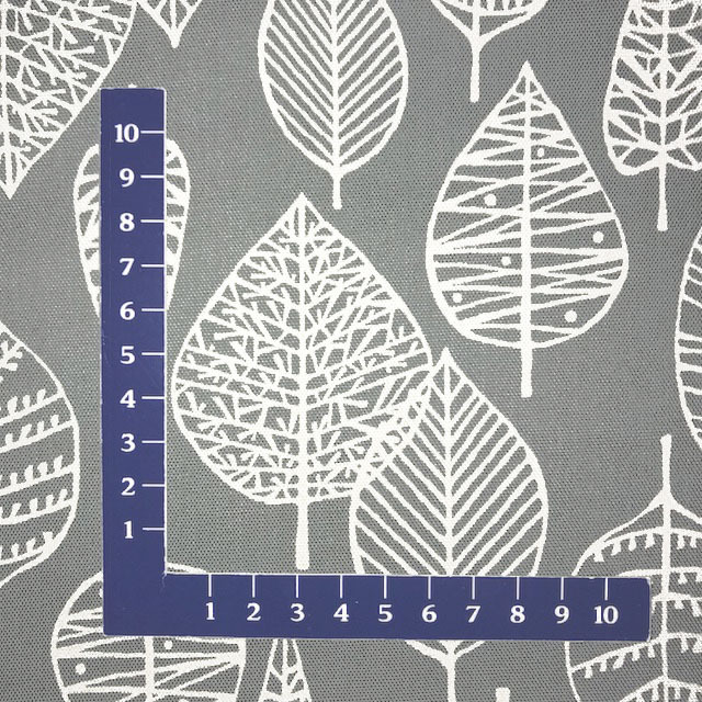 画像2: 【オックス】102002■約40cmハギレ 葉っぱ葉脈柄 グレー地