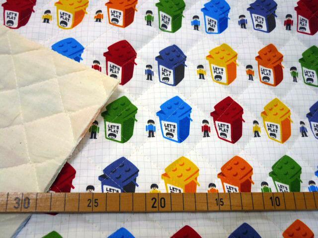画像1: 【キルト】白地に並んだブロックBOX  レゴ風柄 ブロックボックス