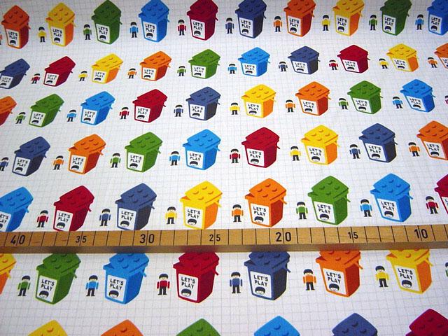 画像1: 【オックス】レッツプレイ 白地に並んだブロックBOX  レゴ風ブロック